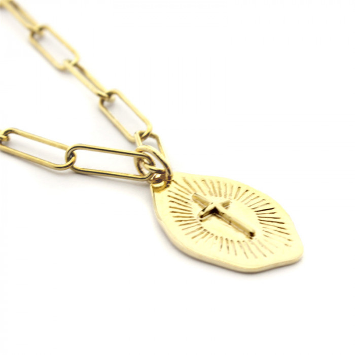 Collar Cruz irregular con cadena dorada 40cm