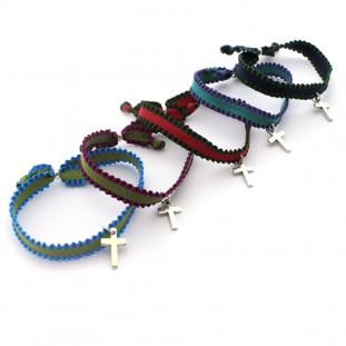 Pack 5 pulseras bicolor con cruz
