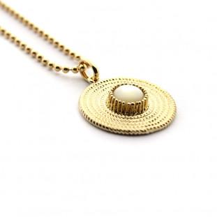Collar Rosetón con cadena dorada de 45cm