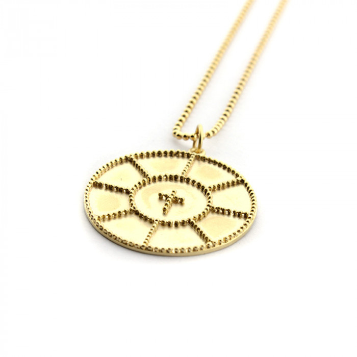 Collar ROSETÓN CRUZ 30mm con cadena dorada de 45 cm