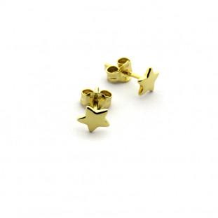 Pendientes estrella mini de plata bañada en oro