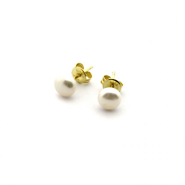 Pendientes perla plata bañada en oro