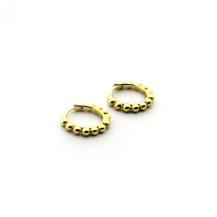 Pendientes mini aro de bolitas plata bañada en oro