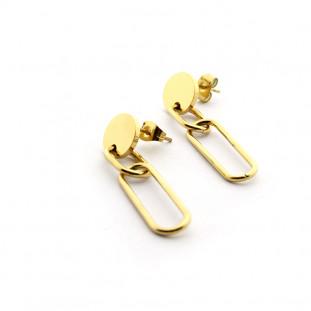 Pendientes largos de acero bañados en oro