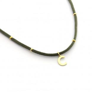 Collar elástico inicial con donitas doradas