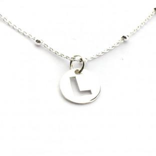 Collar INICIAL cadena de bolitas de plata