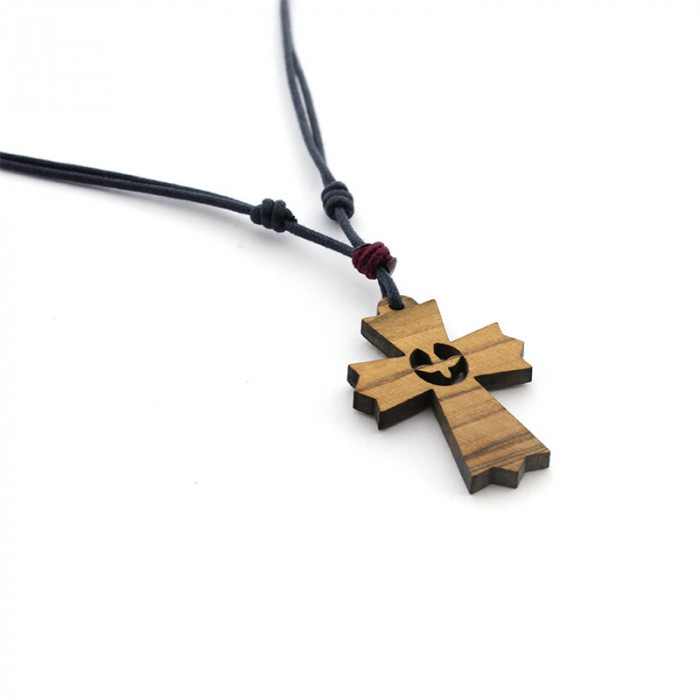 Collar Cruz de madera Paloma Espíritu Santo