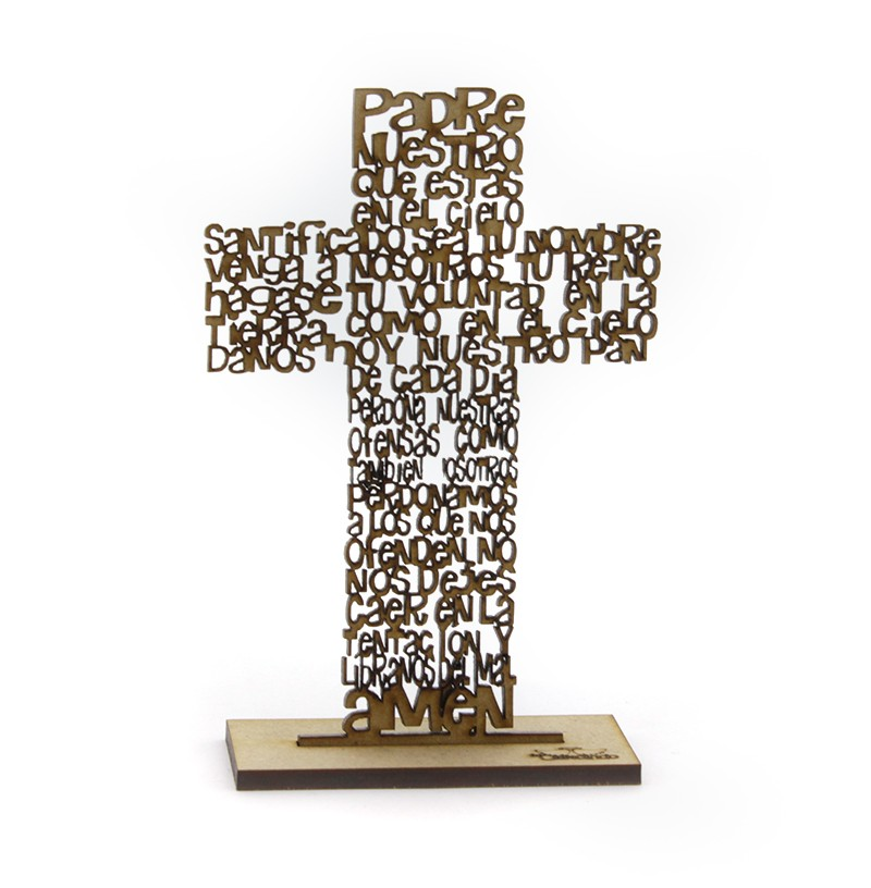 Cruz Padre Nuestro de madera - Sobremesa